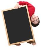 Sinal do espaço em branco do menino de escola com trajeto de grampeamento Fotos de Stock