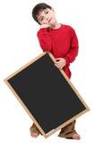 Sinal do espaço em branco do menino de escola com trajeto de grampeamento Fotografia de Stock Royalty Free