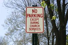 Sinal do estacionamento da igreja Foto de Stock Royalty Free