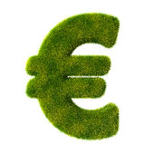 Sinal do Euro da grama verde fresca Foto de Stock