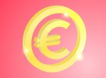 Sinal do Euro no fundo vermelho Imagem de Stock