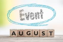Sinal do evento de agosto em uma cena foto de stock royalty free