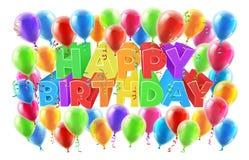 Sinal do feliz aniversario dos balões ilustração stock