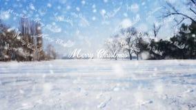 Sinal do Feliz Natal no fundo branco do fundo da neve Fotografia de Stock Royalty Free