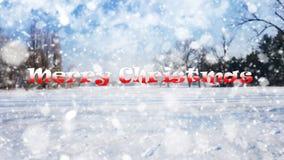 Sinal do Feliz Natal no fundo branco do fundo da neve Imagem de Stock Royalty Free