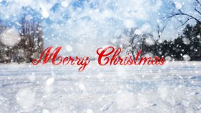 Sinal do Feliz Natal no fundo branco do fundo da neve Foto de Stock