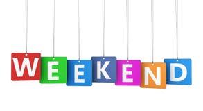 Sinal do fim de semana em etiquetas coloridas Foto de Stock