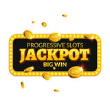Sinal do fundo da etiqueta do casino do jackpot O jackpot do casino inventa o símbolo de brilho do texto do vencedor do dinheiro  Fotos de Stock