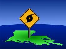 Sinal do furacão do mapa de Louisiana Imagem de Stock Royalty Free