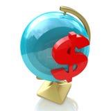 Sinal do globo e de dólar Imagens de Stock Royalty Free