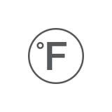 Sinal do grau, ícone de Fahrenheit isolado no fundo branco Ilustração do vetor ilustração do vetor