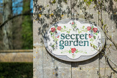 Sinal do jardim secreto Foto de Stock Royalty Free