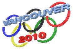 Sinal do jogo olímpico de Vancôver isolado no branco Fotos de Stock Royalty Free
