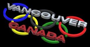 Sinal do jogo olímpico de Vancôver isolado no preto Imagem de Stock