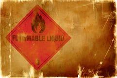 Sinal do líquido inflamável (fundo morno) imagens de stock royalty free