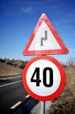 Sinal do limite de velocidade Fotos de Stock Royalty Free