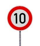 Sinal 10 do limite de velocidade imagens de stock