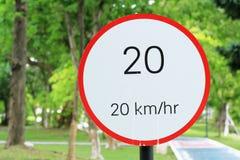 Sinal 20 do limite de velocidade Fotos de Stock