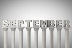 Sinal do mês de setembro no colunas clássicas ilustração royalty free