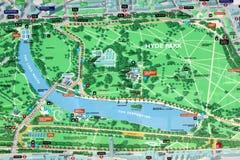 Sinal do mapa de Hyde Park Fotos de Stock