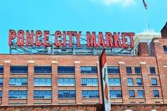 Sinal do mercado da cidade de Atlanta, Geórgia em junho de 2018 - Ponce imagem de stock royalty free