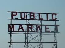 Sinal do mercado público de Seattle Imagens de Stock