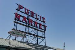 Sinal do mercado público em Seattle Washington United States de Ame Imagens de Stock Royalty Free