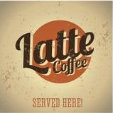 Sinal do metal do vintage - café Latte ilustração stock