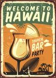 Sinal do metal do vintage de Havaí ilustração royalty free