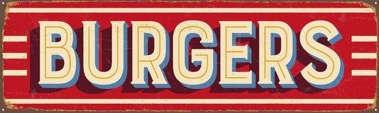 Sinal do metal do vintage - hamburgueres Imagens de Stock Royalty Free