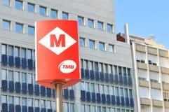 Sinal do metro de Barcelona Imagens de Stock