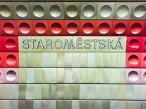 Sinal do metro de Staromestska Fotografia de Stock Royalty Free