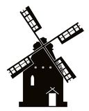 Sinal do moinho de vento do vetor. Imagem de Stock Royalty Free