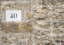 Sinal do número da casa 40 Imagens de Stock