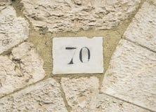 Sinal do número da casa 70 Imagens de Stock