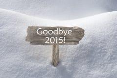 Sinal do Natal com neve e texto adeus 2015 Fotos de Stock Royalty Free