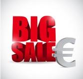 Sinal do negócio da moeda da venda grande euro- Imagem de Stock