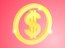 Sinal do ouro do dólar Imagem de Stock