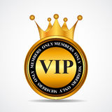 Sinal do ouro dos membros do VIP do vetor somente, molde da etiqueta Imagens de Stock
