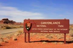 Sinal do parque nacional de Canyonlands, Utá, EUA Fotografia de Stock