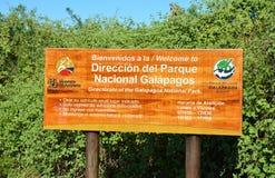 Sinal do parque nacional de Galápagos Imagem de Stock Royalty Free