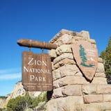 Sinal do parque nacional de Zion. Imagem de Stock Royalty Free