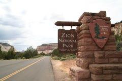 Sinal do parque nacional de Zion Fotos de Stock