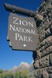 Sinal do parque nacional de Zion Fotografia de Stock