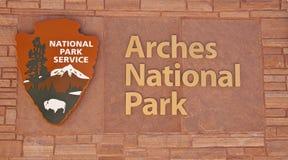 Sinal do parque nacional dos arcos Imagem de Stock