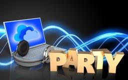 sinal do partido do portátil 3d e dos fones de ouvido Fotos de Stock