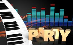 sinal do partido do teclado de piano 3d Imagem de Stock