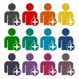 Sinal do perfil de usuário com os ícones positivos da Web do glyph ajustados Fotografia de Stock Royalty Free