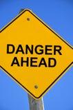 Sinal do perigo adiante Imagem de Stock
