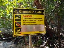 Sinal do perigo do crocodilo, parque nacional de Kakadu, Austrália Foto de Stock Royalty Free